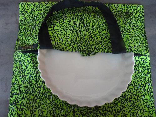 sac à tarte vert noir wax tissu africain coton pagne boubou cuisine gâteau grain de sable