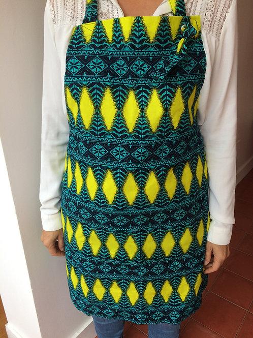 tablier femme wax coton cuisine tissu africain lavable en machine coloré poche grain de sable