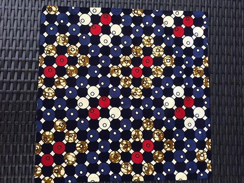 coussin bleu marine rouge wax fait main décoration ameublement cadeau