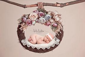 newborn photography, headband in wreath, professional newborn photographer, cheltenham