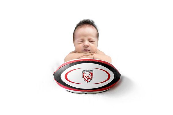 Glos Rugby photo shoot baby ball Newborn boy photo shoot, Cheltenham Gloucestershire