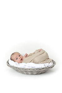 newborn baby in basket, professional photo packages, studio in your home