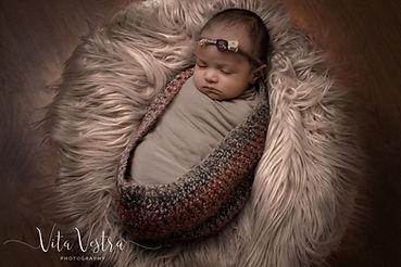 newborn baby, indian baby, basket, fur, headband, baby girl, professional photography, Baby photographer Gloucestershire