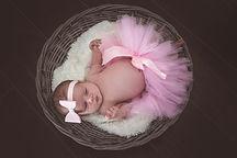 newborn baby girl tutu in basket