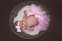 New baby in basket, tutu, pink tutu, headband, bow newborn photo shoot