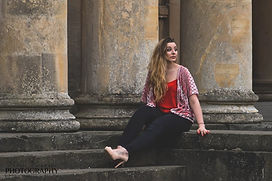 portrait, miss cheltenham, professional photo, professional photographs, professional portraits, model, pump rooms, pillars, steps, red top, blonde, heels