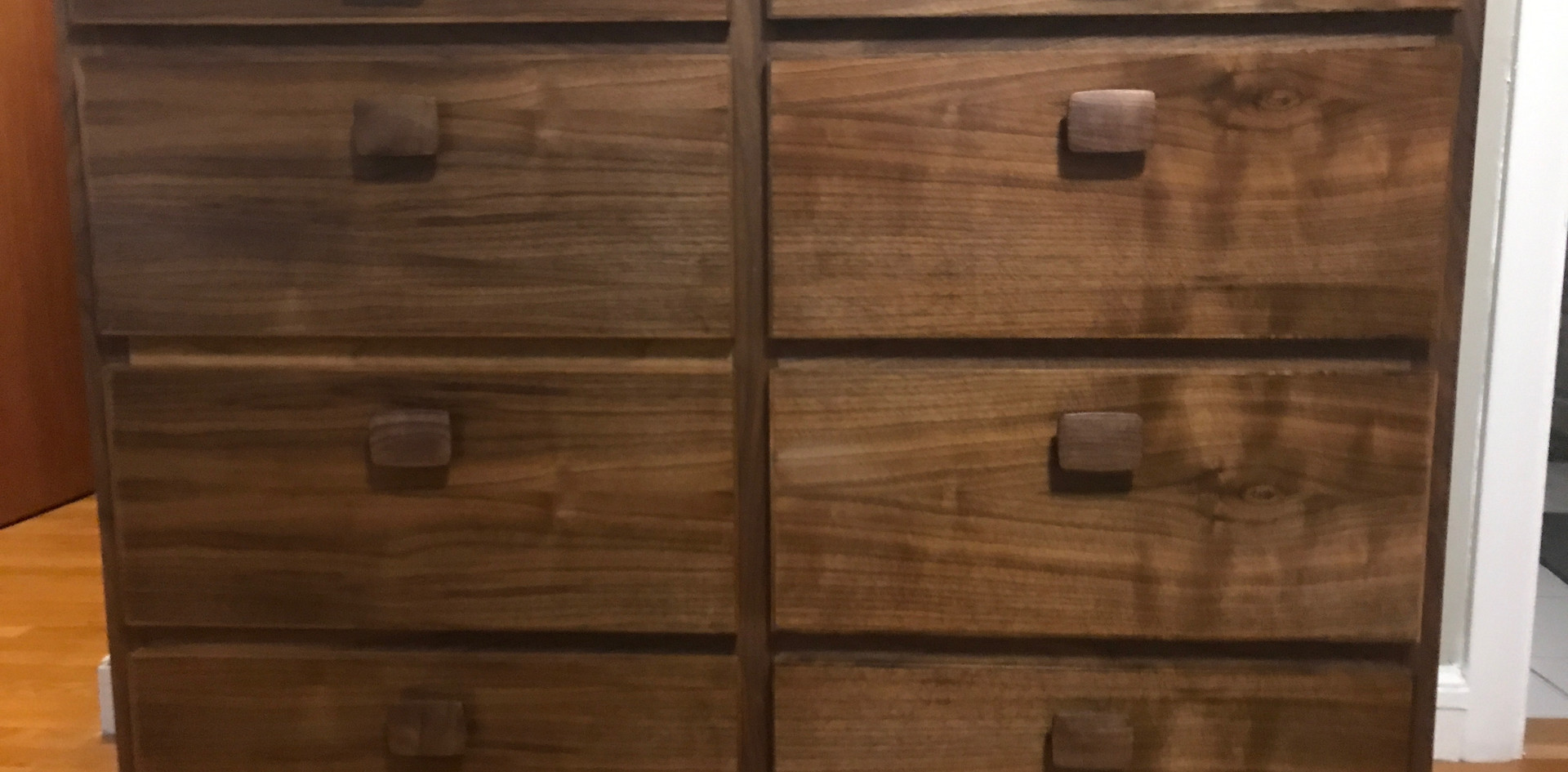 Custom walnut dresser