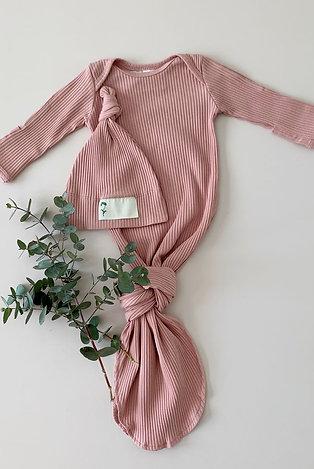 Cotton Newborn Sleep Gown + Beanie - 4 Colours