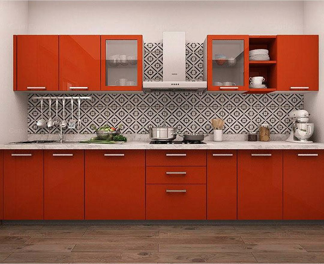 Carnival Red Theme Modular Kitchen