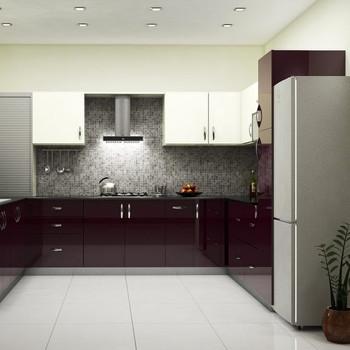 Straight-shaped Modular Kitchen Black Wood and Creamy White