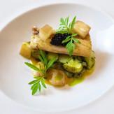 smoked eel / herbed potato salad / compressed apple