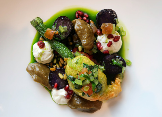 ricotta stuffed courgette flower / sauce vierge / violette potato