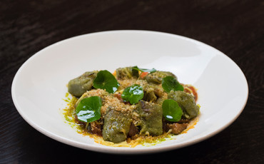 herbed gnocchi / nasturtium / vegan cheddar