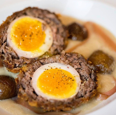venison scotch egg / chestnut veloute