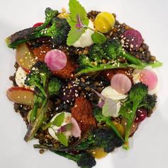 purple broccoli / pickled beetroot / dukkah / romesco sauce