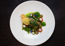 romesco stuffed courgette / tenerumi / vegan labneh
