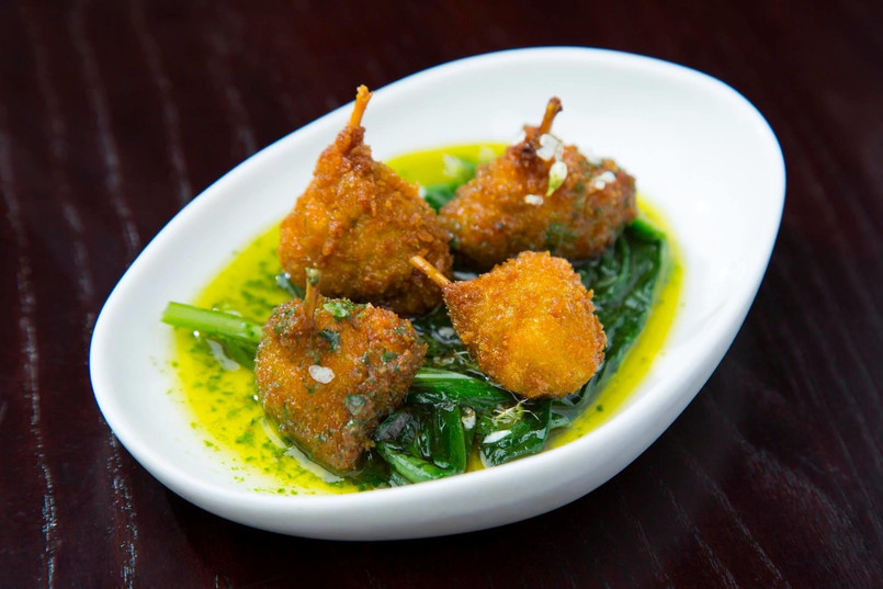 wild garlic butter / frogs legs