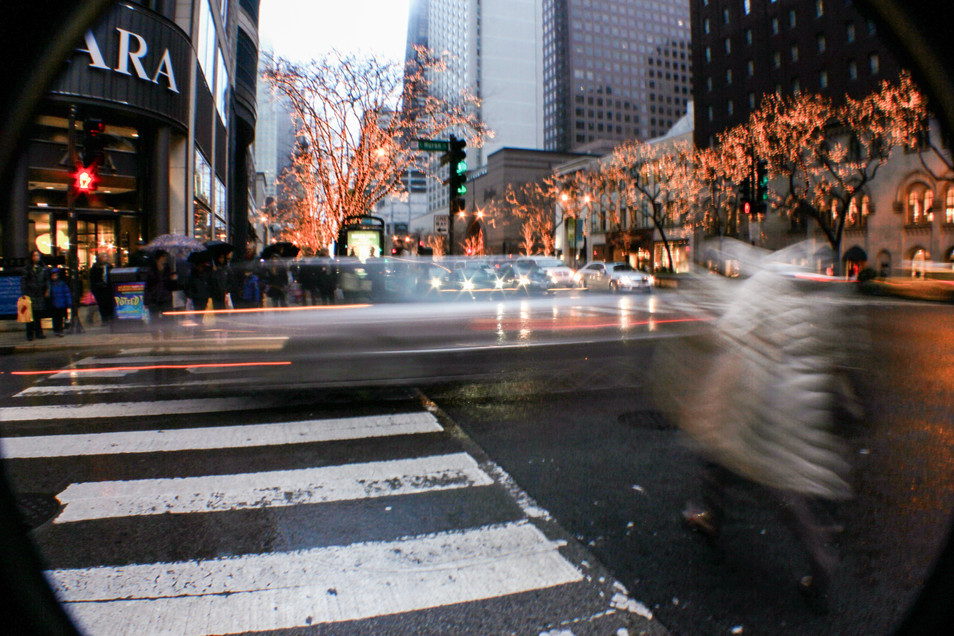 Downtown Chicago through a fisheye