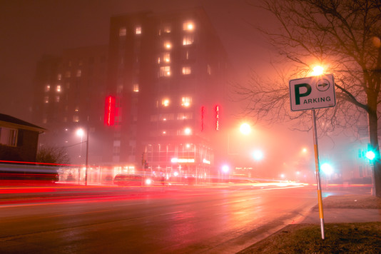 A foggy night in Madison, Wisconsin