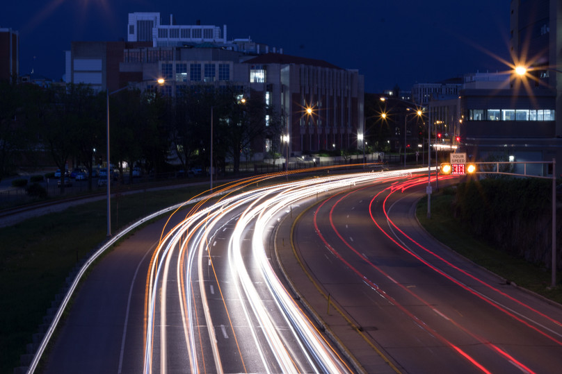 University Ave at night in Madison, WI