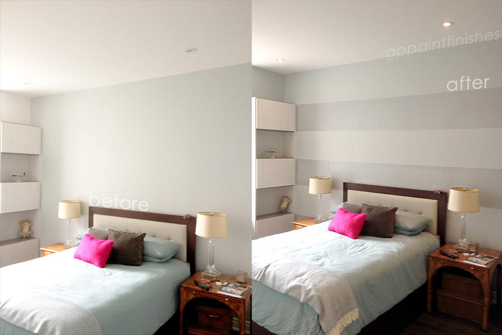 Horizontal Striped Bedroom Wall