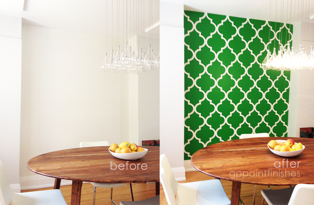 Custom Stenciled Green Wall