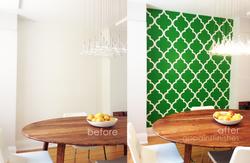 Custom Stenciled Green Wall