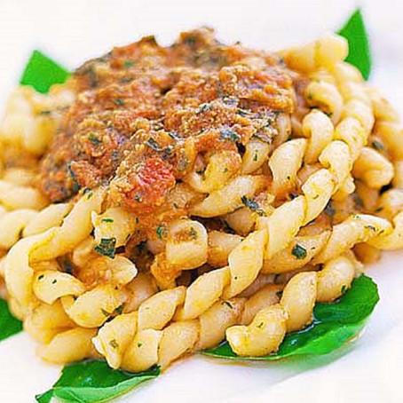 Busiate with Pesto alla Trapanese, Sicilian Recipe