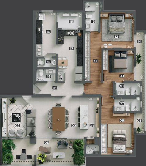 Planta Apartamento Unidade Tipo - Giardino Cancelli