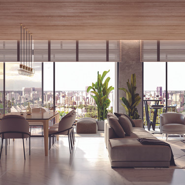 Sala de estar, jantar e gourmet