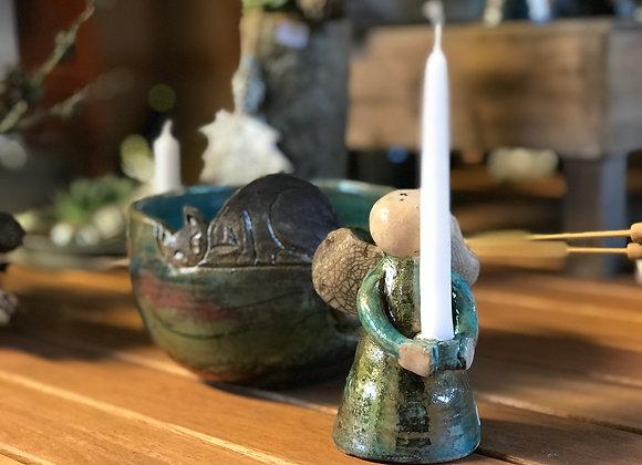 Keramik engel til juletræslys