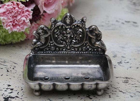 Sæbeskål m/engle antique sølv