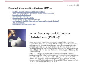 Required Minimum Distribution Age Change
