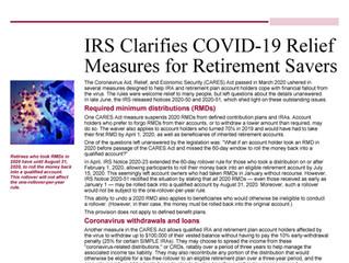 COVID-19 Retirement Plan Relief Measures