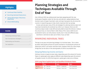 Year End Planning Strategies and Techniques