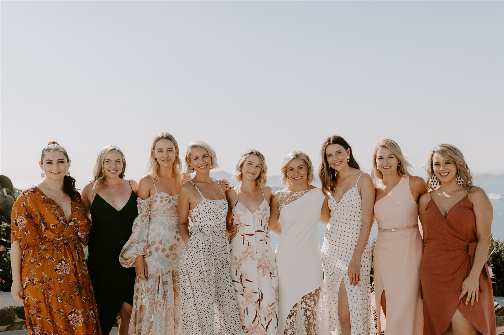 Bridesmaids in Santorini
