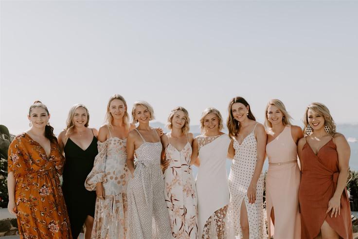 Bridesmaids in Santorini