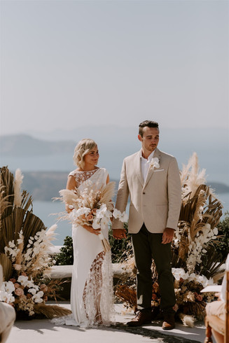 Pampas grass wedding Santorini