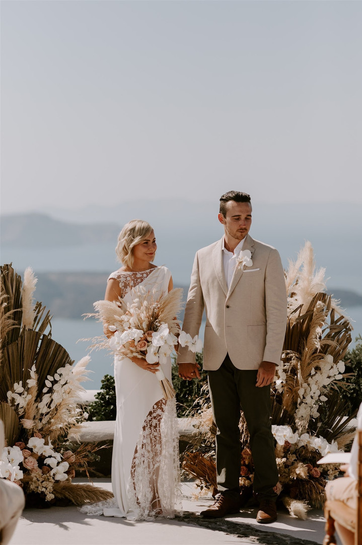 Pampas grass wedding Santorini