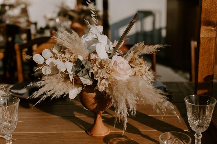 Pampas wedding Santorini