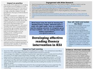 Developing effective reading fluency intervention in KS2