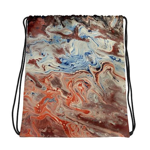 Orange/Blue Flow Art Drawstring bag