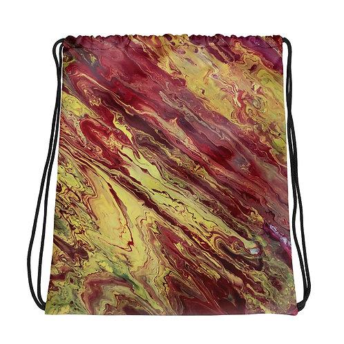 Red/Yellow Flow Art Drawstring bag