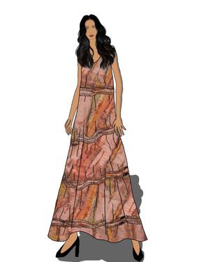 Floor Length Shirred Dress