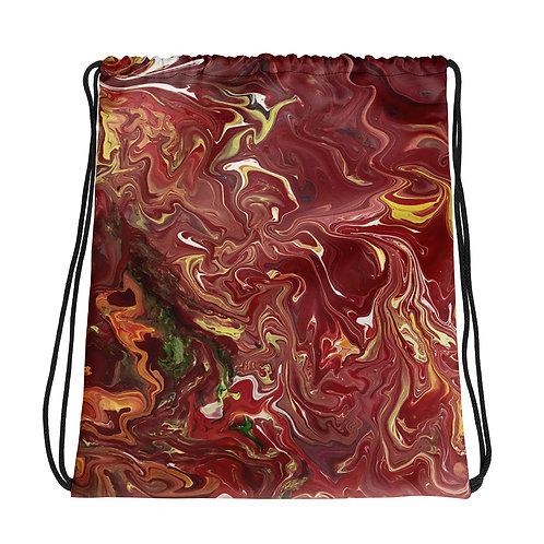 Red/Orange Flow Art Drawstring bag