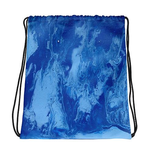 Blue Flow Art Drawstring bag