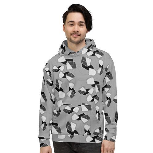 Grey Geometric Unisex Hoodie