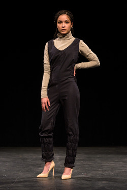 Shirred Pant Jumpsuit and Turtleneck Top