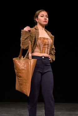 Wool Jacket, Strapless Top, and Pleated Pants