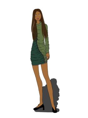 Two-Tone Shirred Dress